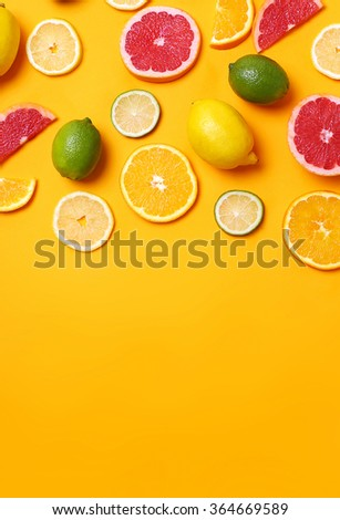Delicious citrus fruits on the table - stock photo