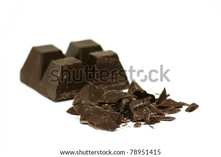 Delicious close-up of chocolate on white background - stock photo