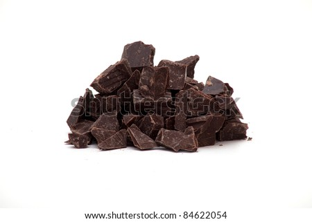 delicious close-up of chopped chocolate over white - stock photo