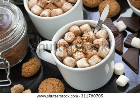 delicious cocoa with marshmallow and cookies, closeup - stock photo