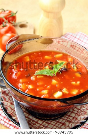 delicious cold Gazpacho soup - stock photo