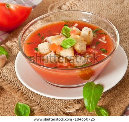 delicious cold Gazpacho soup in  bowl - stock photo