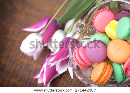 Delicious colorful biscuits in bowl ( macaroon)  - stock photo