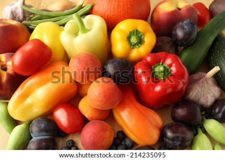 Delicious, colorful variety of fresh  fruits and vegetables. - stock photo