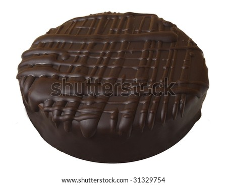 Delicious cookie covered with dark chocolate fondant - stock photo