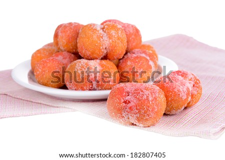 Delicious cookies peaches on plate close-up - stock photo