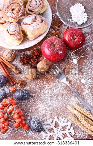 Delicious cookies with cinnamon on a wooden table. Seasonal table christmas time. - stock photo