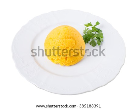 Delicious corn maize porridge with fresh parsley. Isolated on a white background. - stock photo