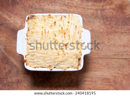 delicious cottage pie or sheherd's pie made with beef - stock photo
