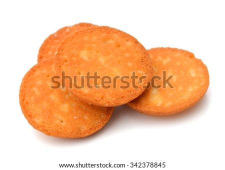 Delicious cracker isolated on white - stock photo