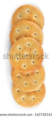 Delicious crackers isolated on white - stock photo