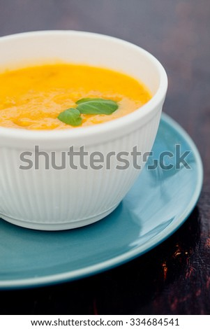 Delicious creamy spanish style vegetable soup on a restaurant table - stock photo