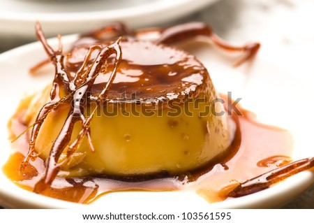 Delicious creme caramel dessert - stock photo