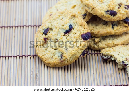 Delicious crisp oaty biscuits - stock photo