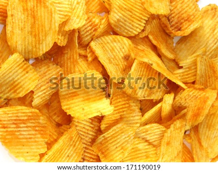 Delicious crispy chips - stock photo