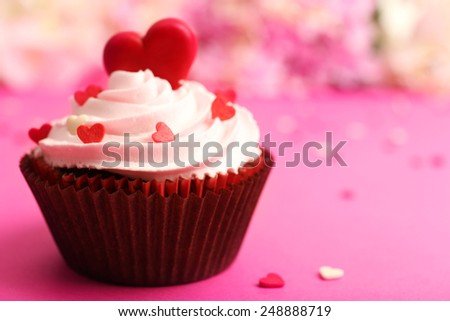 Delicious cupcake for Valentine Day close-up - stock photo