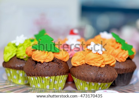 Delicious cupcake on a plate with bokeh background