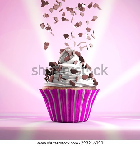 Delicious cupcake with chocolate hearts sprinkled on a whipped cream. Vintage background. - stock photo