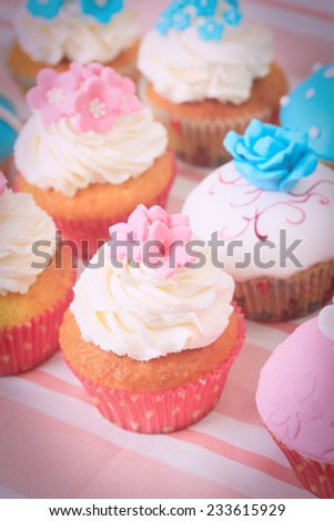 delicious cupcakes dessert for big party