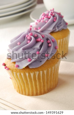 Delicious cupcakes with purple frosting and candy sprinkles - stock photo