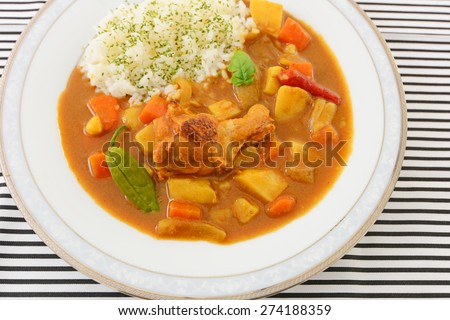 Delicious curry and rice - stock photo