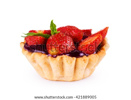 Delicious custard tart with strawberries - stock photo