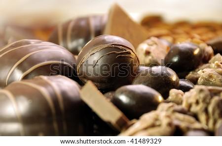 Delicious dark and  milk chocolate candies - stock photo