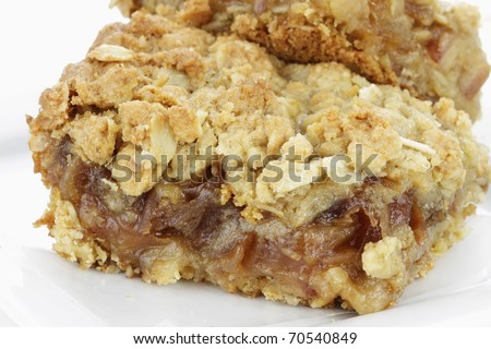 Delicious date bar made with oats and pitted dates. - stock photo