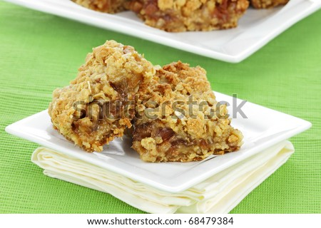 Delicious date bars made with oats and pitted dates. - stock photo