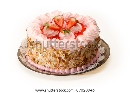 Delicious & decorated Strawberry cake on white - stock photo