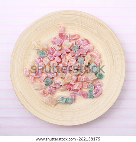 delicious delight over bamboo plate - stock photo
