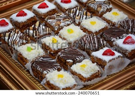 Delicious dessert cakes - stock photo