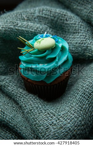 delicious dessert cupcake with cream on a green background