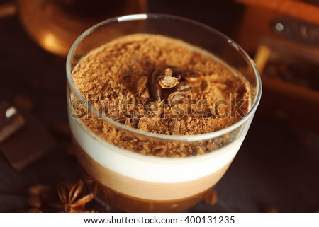 Delicious dessert in glass, closeup