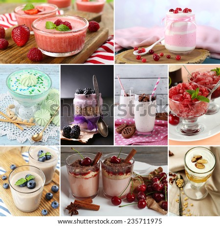 Delicious desserts collage - stock photo