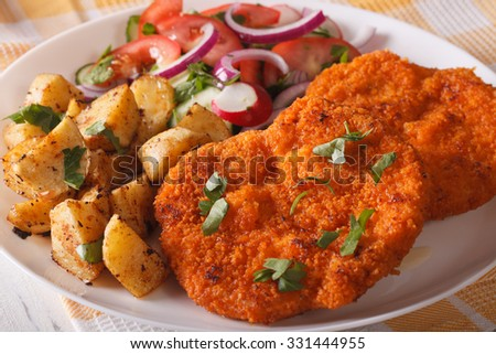 Delicious dinner: Wiener Schnitzel, fresh salad and fried potatoes on a plate close-up. horizontal - stock photo