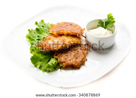 Delicious dishes from the restaurant menu on a white bowl on a white background. - stock photo