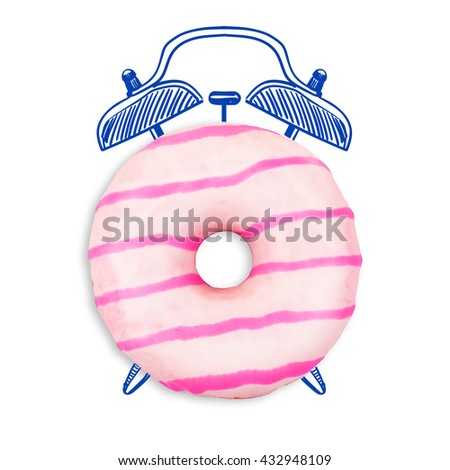 Delicious donut isolated on white. Time concept - stock photo