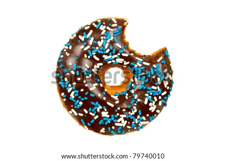 Delicious Donut with Bite Missing Isolated on a White Background - stock photo