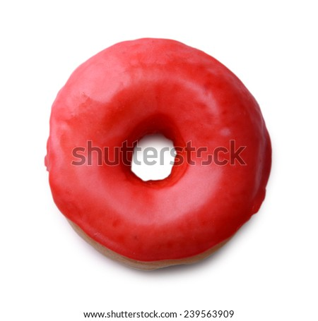 Delicious donut with glaze isolated on white - stock photo