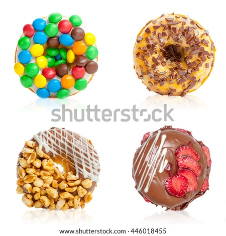 Delicious donuts collage, isolated on white - stock photo