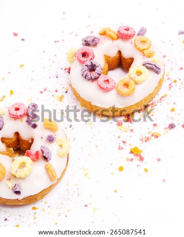 Delicious donuts on a white background - stock photo
