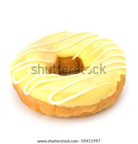 Delicious doughnut isolated on white background - stock photo