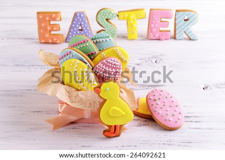 Delicious Easter cookies on table close-up - stock photo