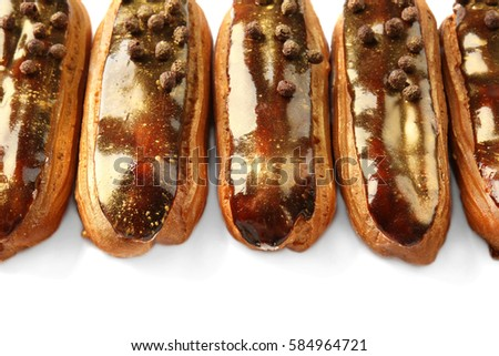 Delicious eclairs closeup