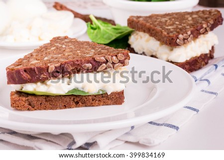 Delicious Egg Salad for Sandwiches. Egg Salad Sandwiches with Whole Grain Bread. Healthy Sandwich for Breakfast. - stock photo