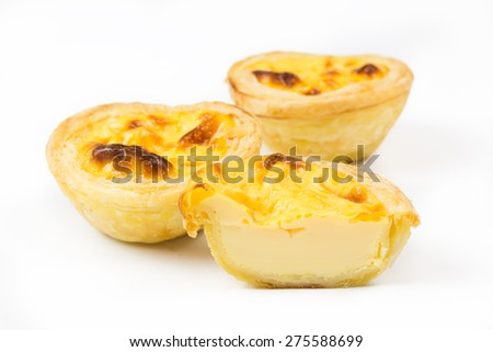 delicious egg tart on white background