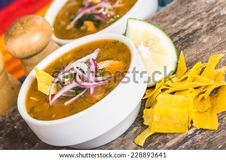 Delicious encebollado fish stew from Ecuador traditional food national dish closeup - stock photo