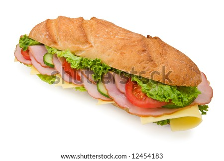 Delicious extra large 12inch submarine sandwich with ham, swiss cheese, lettuce, tomatoes and cucumbers isolated on white background - stock photo