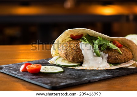 Delicious falafel snack ready to eat. - stock photo